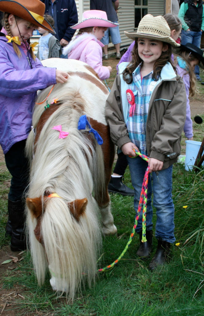 Zoe with the pony called Rainbow Cassie at her 7th birthday party!