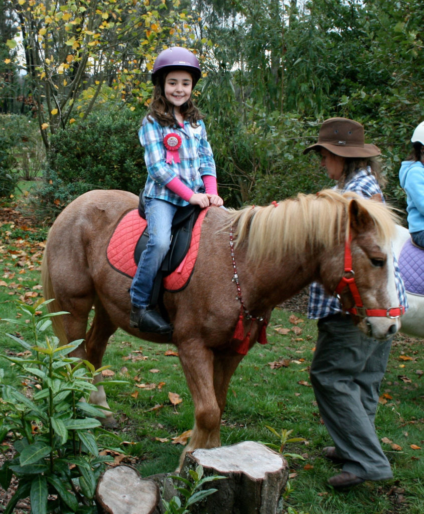 Neddy giving Zoe a ride at her pony party.